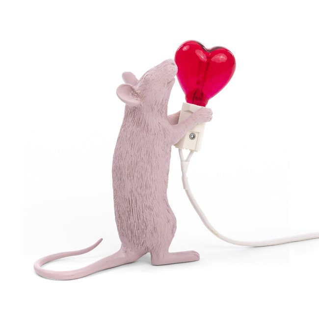 Seletti Tischlampe Mouse Lamp Love Edition LED 1W H 14,5 cm